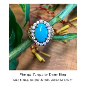 💠 Vintage Turquoise Dome styled Ring - size 8 💠